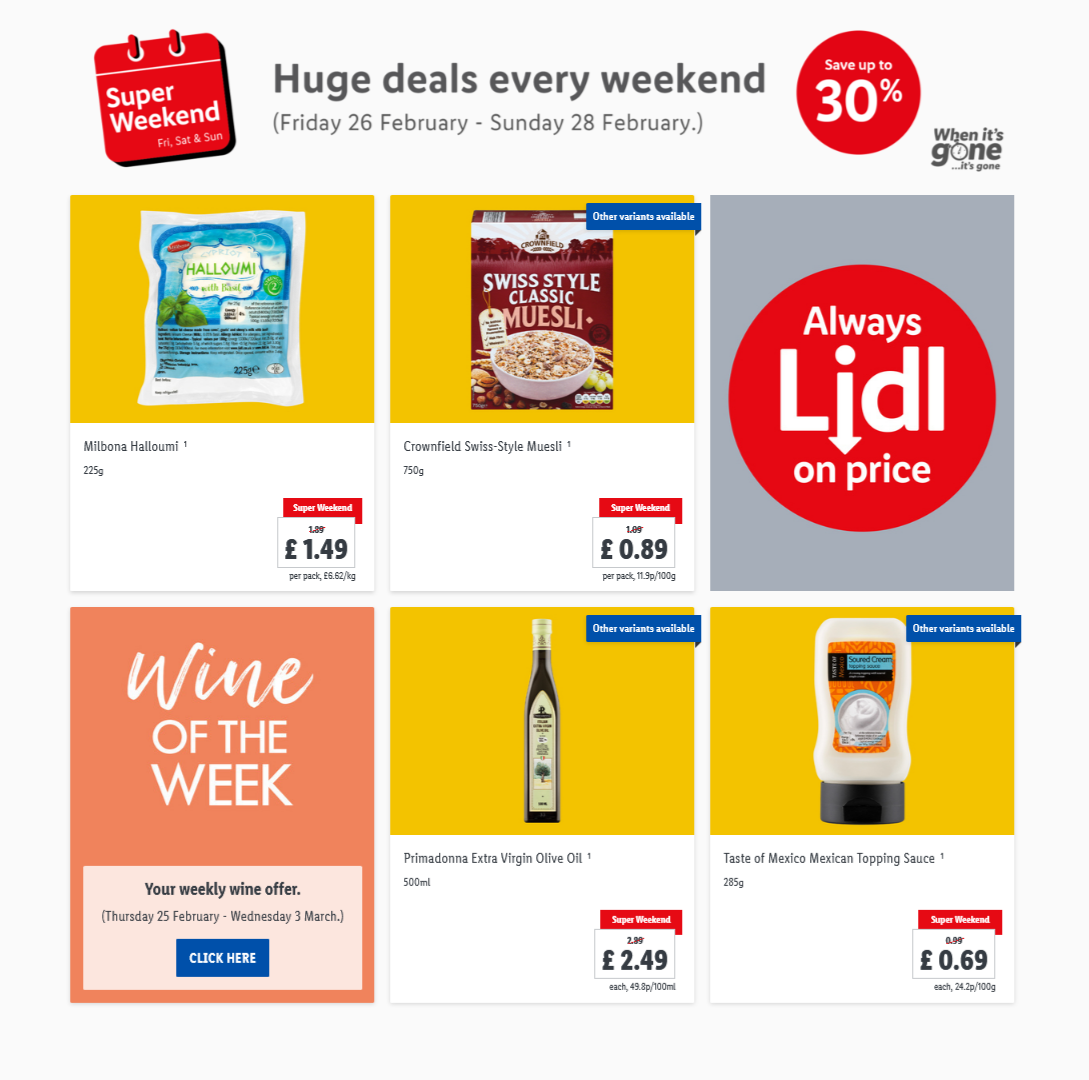 LIDL Weekend Offers from 26th February 2021