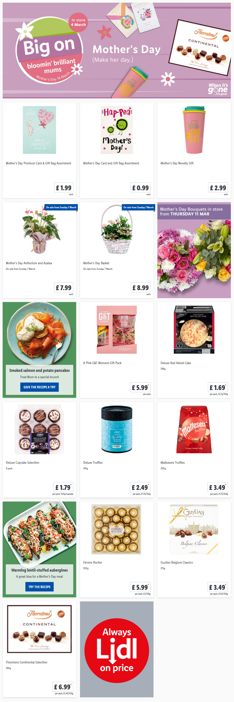LIDL Mother's Day Offers from 4th March 2021