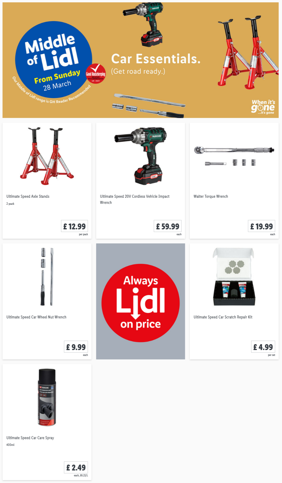LIDL Sunday Offers Car Care from 28th March 2021