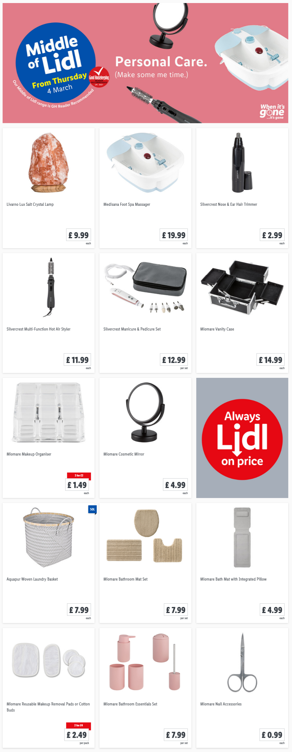 LIDL Offers this Thursday From 4th Maarch 2021 LIDL Personal Care