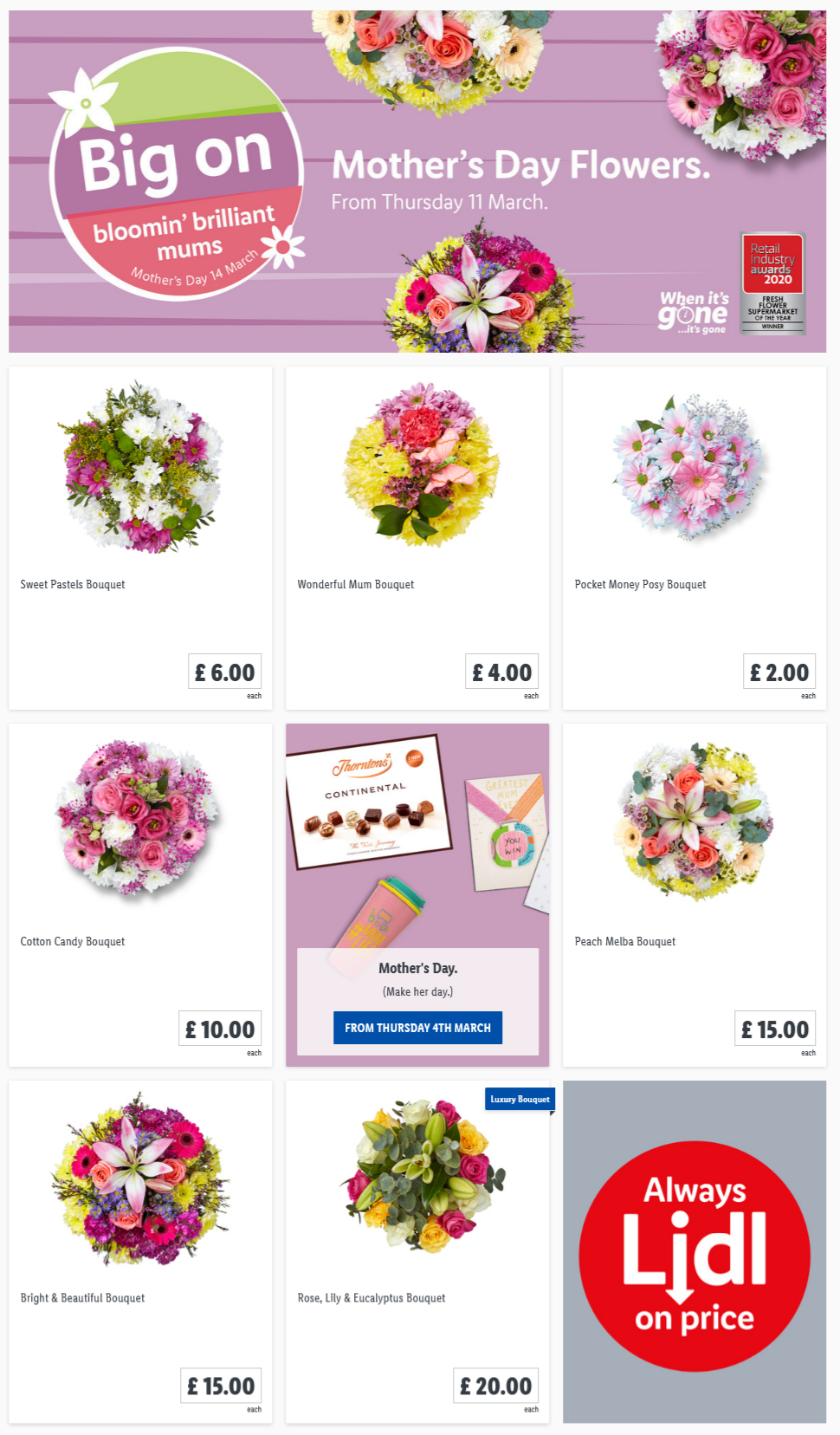 LIDL Mother's Day Flowers Offers from 11th March 2021
