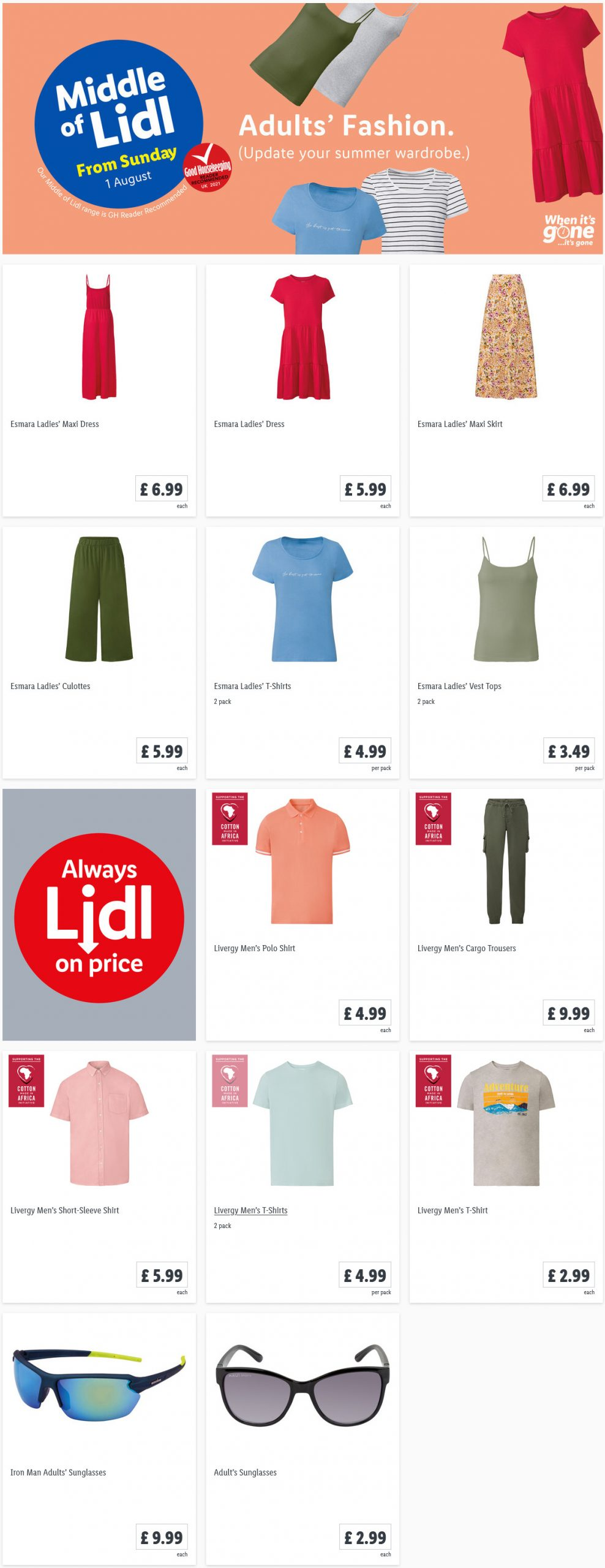LIDL Sunday Offers Summer Fashion from 1st August 2021