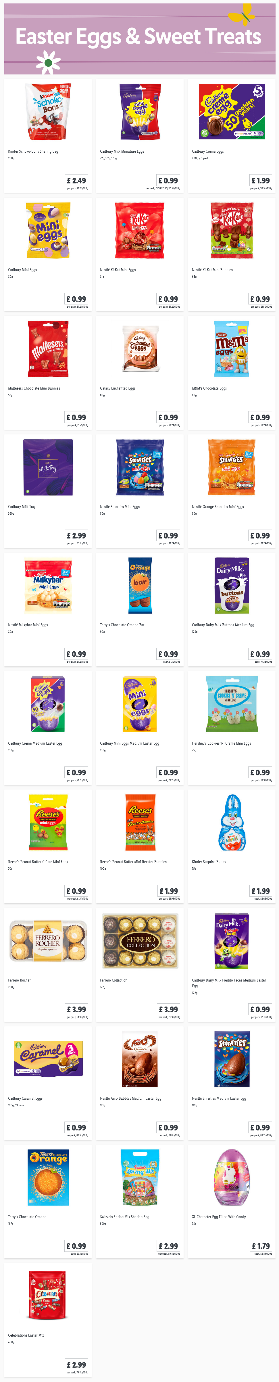 LIDL Offers this Thursday From 25th February 2021 LIDL Easter Eggs Sweet Treats