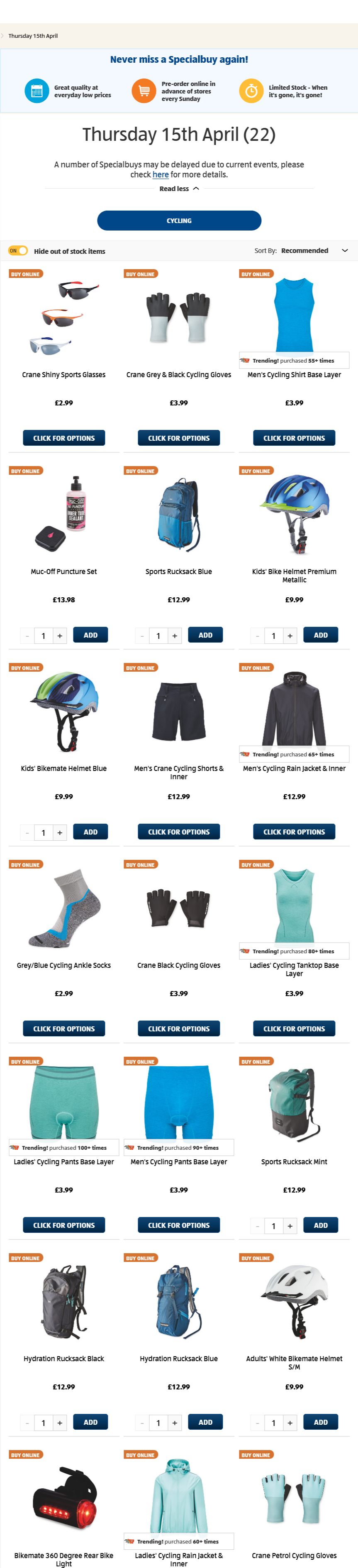 ALDI Thursday Offers Cycling 15th April 2021
