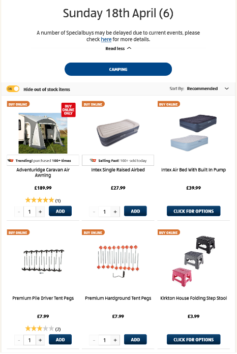 ALDI Sunday Offers Camping 18th April 2021