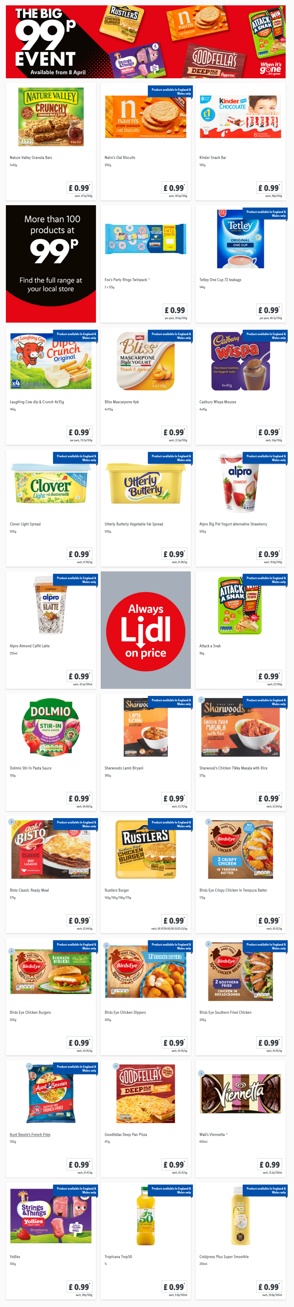 LIDL Offers this Thursday From 8th April 2021 LIDL The Big 99p Event