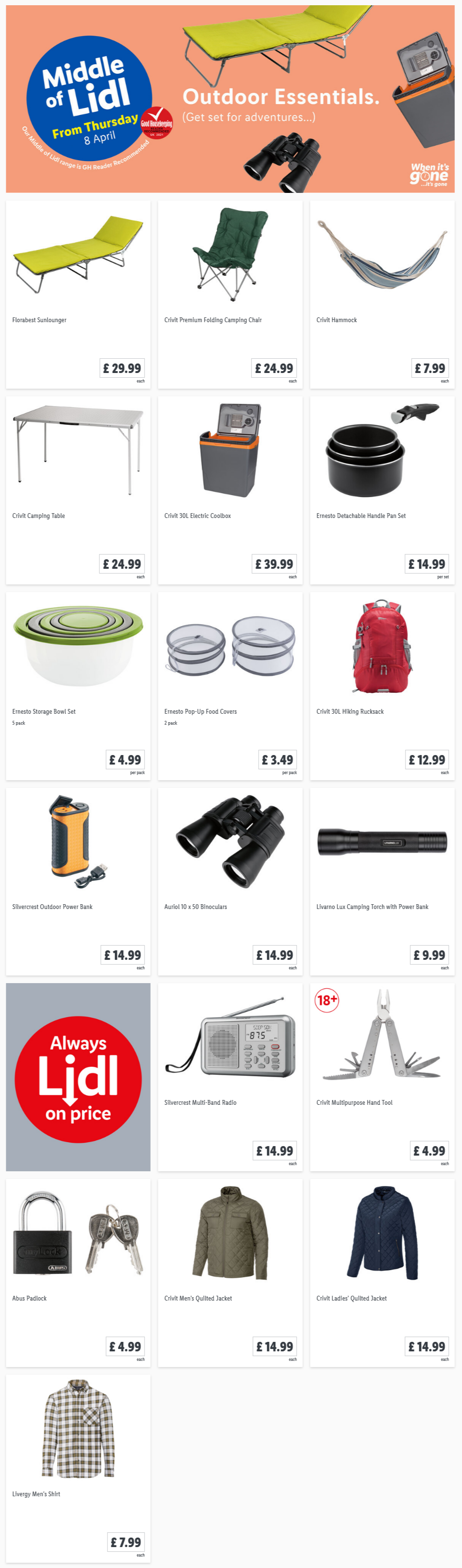 LIDL Offers this Thursday From 8th April 2021 LIDL Outdoor Essentials