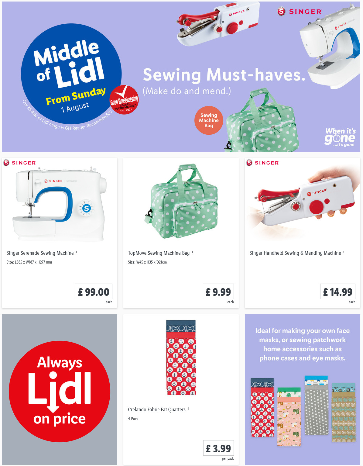 LIDL Sunday Offers 1st August 2021 LIDL Sewing