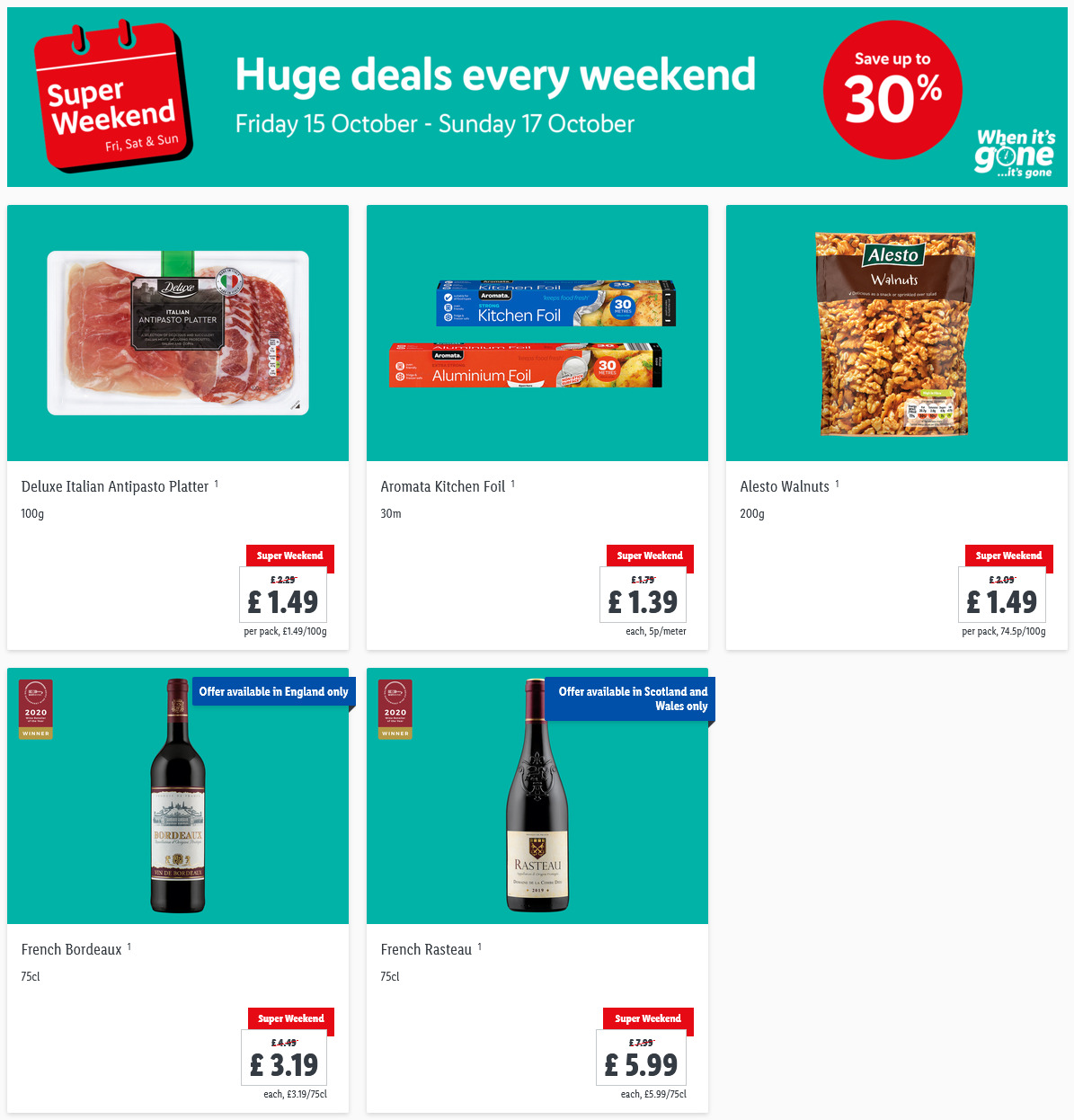 LiDL Weekend Offers Super Weekend 15th October – 17th October 2021